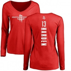 Women's James Harden Houston Rockets Red Backer Long Sleeve T-Shirt