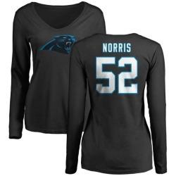 Women's Jared Norris Carolina Panthers Name & Number Logo Slim Fit Long Sleeve T-Shirt - Black