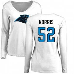 Women's Jared Norris Carolina Panthers Name & Number Logo Slim Fit Long Sleeve T-Shirt - White