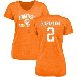 Women's Jarrett Guarantano Tennessee Volunteers Distressed Basketball Tri-Blend V-Neck T-Shirt - Tennessee Orange