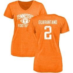 Women's Jarrett Guarantano Tennessee Volunteers Distressed Football Tri-Blend V-Neck T-Shirt - Tennessee Orange