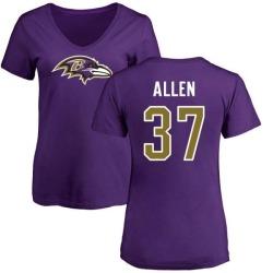 Women's Javorius Allen Baltimore Ravens Name & Number Logo Slim Fit T-Shirt - Purple