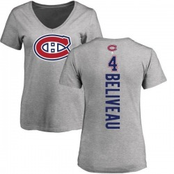 Women's Jean Beliveau Montreal Canadiens Backer T-Shirt - Ash