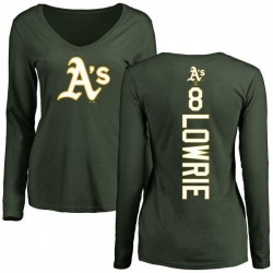 Women's Jed Lowrie Oakland Athletics Backer Slim Fit Long Sleeve T-Shirt - Green