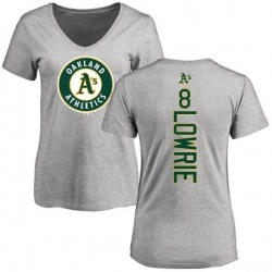 Women's Jed Lowrie Oakland Athletics Backer Slim Fit T-Shirt - Ash