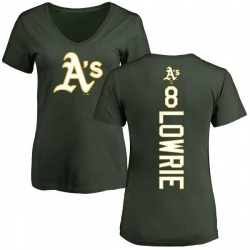 Women's Jed Lowrie Oakland Athletics Backer Slim Fit T-Shirt - Green