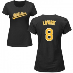 Women's Jed Lowrie Oakland Athletics Roster Name & Number T-Shirt - Black