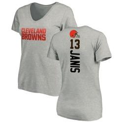 Women's Jeff Janis Cleveland Browns Backer V-Neck T-Shirt - Ash