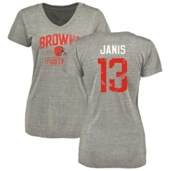 Women's Jeff Janis Cleveland Browns Heather Gray Distressed Name & Number Tri-Blend V-Neck T-Shirt