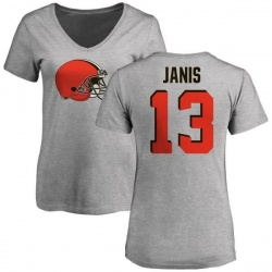Women's Jeff Janis Cleveland Browns Name & Number Logo Slim Fit T-Shirt - Ash
