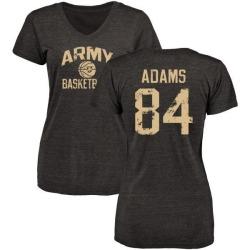 Women's Jermaine Adams Army Black Knights Distressed Basketball Tri-Blend V-Neck T-Shirt - Black