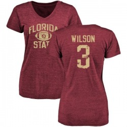 Women's Jesus Wilson Florida State Seminoles Distressed Football Tri-Blend V-Neck T-Shirt - Garnet