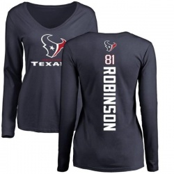 Women's Jevoni Robinson Houston Texans Backer Slim Fit Long Sleeve T-Shirt - Navy