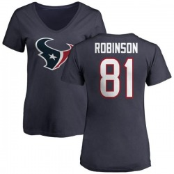 Women's Jevoni Robinson Houston Texans Name & Number Logo Slim Fit T-Shirt - Navy