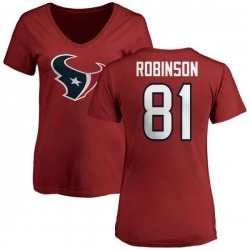 Women's Jevoni Robinson Houston Texans Name & Number Logo Slim Fit T-Shirt - Red