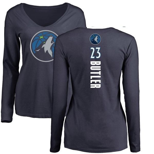 buy popular 032bc 6a890 Women's Jimmy Butler Minnesota Timberwolves Navy Backer Long Sleeve T-Shirt  - Teams Tee