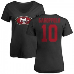 Women's Jimmy Garoppolo San Francisco 49ers Name & Number Logo Slim Fit T-Shirt - Black
