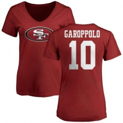 Women's Jimmy Garoppolo San Francisco 49ers Name & Number Logo Slim Fit T-Shirt - Red