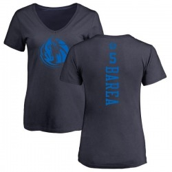Women's J.J. Barea Dallas Mavericks Navy One Color Backer Slim-Fit V-Neck T-Shirt