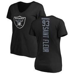 Women's Joby Saint Fleur Oakland Raiders Backer Slim Fit T-Shirt - Black