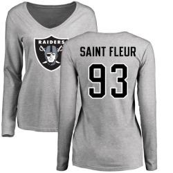 Women's Joby Saint Fleur Oakland Raiders Name & Number Logo Slim Fit Long Sleeve T-Shirt - Ash
