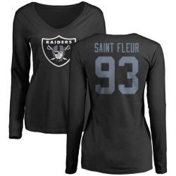 Women's Joby Saint Fleur Oakland Raiders Name & Number Logo Slim Fit Long Sleeve T-Shirt - Black