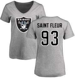 Women's Joby Saint Fleur Oakland Raiders Name & Number Logo Slim Fit T-Shirt - Ash