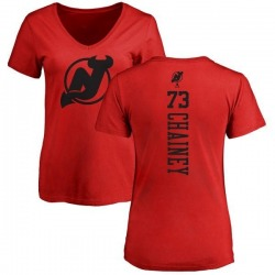 Women's Jocktan Chainey New Jersey Devils One Color Backer T-Shirt - Red