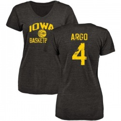 Women's Joe Argo Iowa Hawkeyes Distressed Basketball Tri-Blend V-Neck T-Shirt - Black