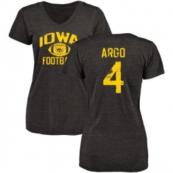Women's Joe Argo Iowa Hawkeyes Distressed Football Tri-Blend V-Neck T-Shirt - Black