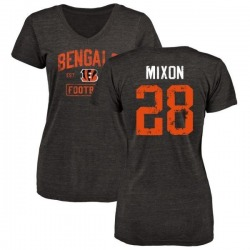 Women's Joe Mixon Cincinnati Bengals Black Distressed Name & Number Tri-Blend V-Neck T-Shirt
