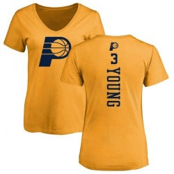 Women's Joe Young Indiana Pacers Gold One Color Backer Slim-Fit V-Neck T-Shirt