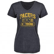 Women's Joe Young Indiana Pacers Navy Baseline Tri-Blend T-Shirt
