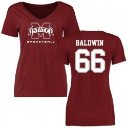 Women's Joel Baldwin Mississippi State Bulldogs Basketball Slim Fit T-Shirt - Maroon