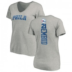 Women's Joel Embiid Philadelphia 76ers Ash Backer T-Shirt
