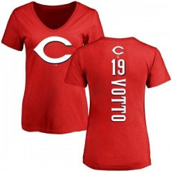 Women's Joey Votto Cincinnati Reds Backer Slim Fit T-Shirt - Red