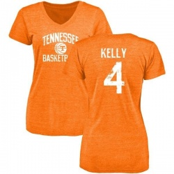 Women's John Kelly Tennessee Volunteers Distressed Basketball Tri-Blend V-Neck T-Shirt - Tennessee Orange