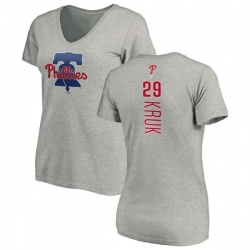 Women's John Kruk Philadelphia Phillies Backer Slim Fit T-Shirt - Ash