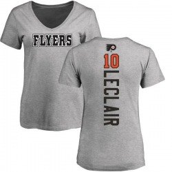 Women's John Leclair Philadelphia Flyers Backer T-Shirt - Ash