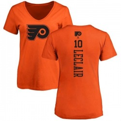 Women's John Leclair Philadelphia Flyers One Color Backer T-Shirt - Orange