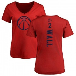 Women's John Wall Washington Wizards Red One Color Backer Slim-Fit V-Neck T-Shirt