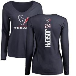 Women's Johnathan Joseph Houston Texans Backer Slim Fit Long Sleeve T-Shirt - Navy