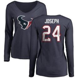 Women's Johnathan Joseph Houston Texans Name & Number Logo Slim Fit Long Sleeve T-Shirt - Navy