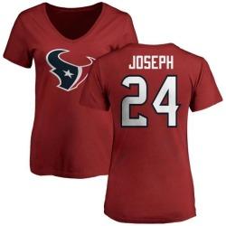 Women's Johnathan Joseph Houston Texans Name & Number Logo Slim Fit T-Shirt - Red