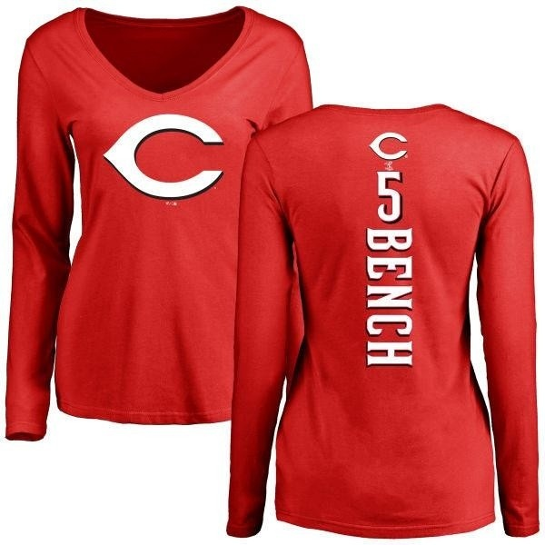 save off 17a02 a9c7f Women's Johnny Bench Cincinnati Reds Backer Slim Fit Long Sleeve T-Shirt -  Red - Teams Tee