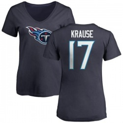 Women's Jonathan Krause Tennessee Titans Name & Number Logo Slim Fit T-Shirt - Navy