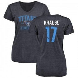 Women's Jonathan Krause Tennessee Titans Navy Distressed Name & Number Tri-Blend V-Neck T-Shirt