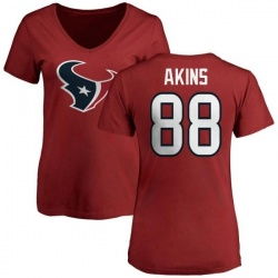 Women's Jordan Akins Houston Texans Name & Number Logo Slim Fit T-Shirt - Red