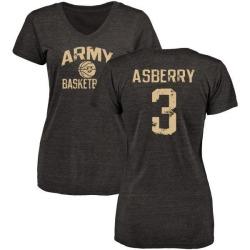 Women's Jordan Asberry Army Black Knights Distressed Basketball Tri-Blend V-Neck T-Shirt - Black