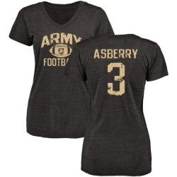 Women's Jordan Asberry Army Black Knights Distressed Football Tri-Blend V-Neck T-Shirt - Black